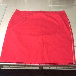 Red raw edge skirt
